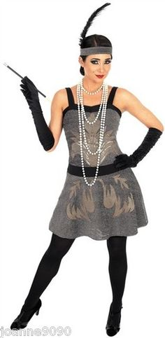 1920s Flapper Charleston Cocktail 20s Silver Glitter Party Dress Retro Theme | eBay/ Taylor likes gloves