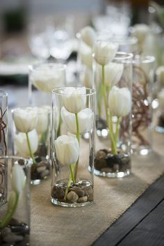 Vases Filled with White Tulips| Whimsical Branches & Paper DIY Wedding…