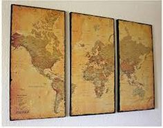 World map in 3 pieces - triptych