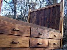 Custom Made 12 Drawer Rustic Reclaimed Wood Platform Storage Bed