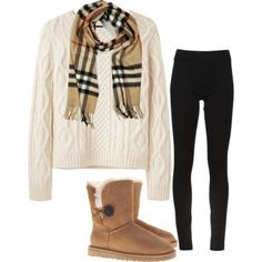 My style! Uggs, dark skinny jeans, and a sweater w/ Burberry scarf. So preppy and cozy and cute.