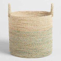 Cost Plus World Market Large Teal Seagrass Sadie Tote Basket Plant Basket, Rattan Basket, Wicker, Baskets, Bamboo Basket, World Market Store, Belly Basket, Basket Decoration, Wedding Decoration