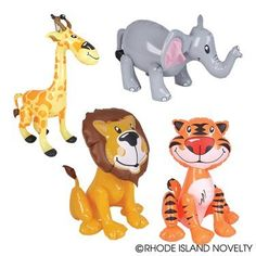 ZOO ANIMAL INFLATABLES / FIVE ZOO INFLATES / TIGER LION ZEBRA ELEPHANT GIRAFFE/Jungle/Safari/Party/Decor/Favor/prize giveaway