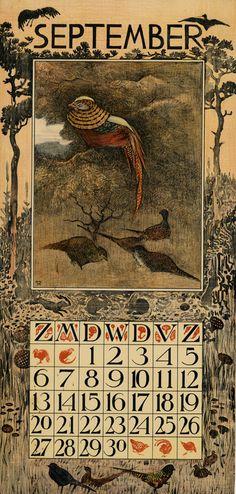 calendar 1903 september Theodoor van Hoytema (illustrator) Tresling & Co. (publisher)