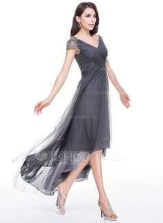 A-Line/Princess V-neck Asymmetrical Ruffle Beading Sequins Zipper Up Sleeves Short Sleeves No Other Colors Spring Summer Fall General Plus Tulle Evening Dress