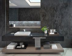 Striking, sharp lines and cool minimalist fixtures like the Kiwami Lavatory make this dark color palette pop. Masculine Bathroom, Dark Color Palette, Bathroom Goals, Bathroom Renos, Modern Bathroom Design, Smart Home, Bathroom Inspiration, Open Shelving, Storage Spaces