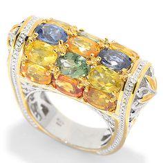 139-416 - Gems en Vogue 8.40ctw Oval Multi Colored Sapphire Barrel Top Ring