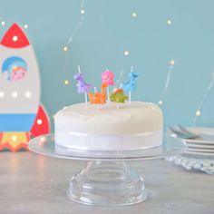 5 Multicoloured Dinosaur Party Candles