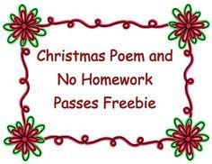 FREE Christmas/Holiday Homework Pass!! | December Teaching ...