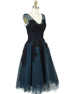 1950s Inspired Teal Tulle Party Dress  #bluevelvetvintage