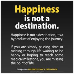 Excerpt from: Happiness is not a destination