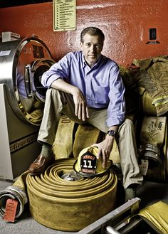 Brian Williams visits the Old Village Fire Company in Middletown with the helmet he wore during his years as a volunteer firefighter.
