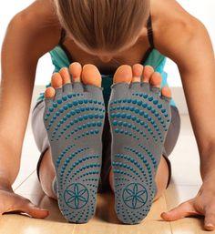 Product Spotlight: Toeless Yoga Socks (Follow Gaiam for more yoga, nutrition, detox, fitness, and green living tips: pinterest.com/gaiam)