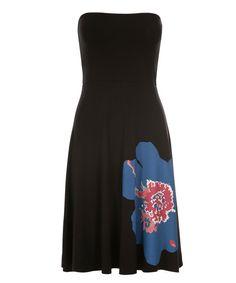 Bandeau Convertible Skirt Dress, Black Print