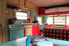 "What a happy space with the bright, cheerful colors-LOVE this ""Sweet Dreams"" Log Cabin & Vintage Camper"