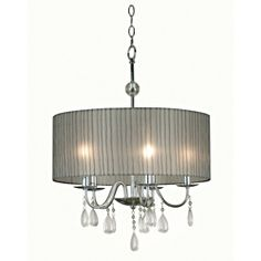 @Overstock.com - Corea 5 Light Pendant - This sixties-inspired designed hip 5 light pendant features a wide, round, striped silver shade, chrome finish, and decorative crystal teardrop accents. This stylish lighting fixture will add ample and warming light to any dining area.  http://www.overstock.com/Home-Garden/Corea-5-Light-Pendant/6959454/product.html?CID=214117 $110.99