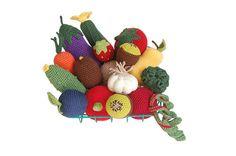 Crochet Play Food 16pcs Crochet Veggies Crochet Fruits Play