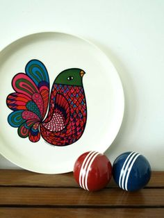 vintage peacock round platter, on etsy