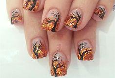 #nails #autumn #orange #glitter #acrylicpaint
