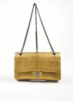 1eda28d1aa5d Chanel Gold Python 2.55 Reissue 226 Double Flap Bag #WomensShoulderbags Chanel  Handbags, Chanel Bags