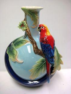 Blue Winged Parrot Vase Franz Porcelain 2758   eBay