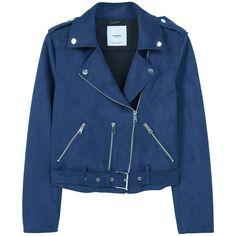 Crop Biker Jacket ($77) ❤ liked on Polyvore featuring outerwear, jackets, lapel jacket, blue motorcycle jacket, cropped motorcycle jacket, cropped jacket and biker jacket