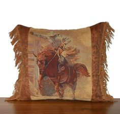 Western Pillow Bronc Cowboy Rodeo Tapestry Pillow