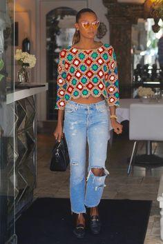 Jasmine Tookes at Villa Blanca in Los Angeles Bead Crochet, Knit Crochet, Learn To Crochet, Crochet Summer Tops, Crochet Squares, Crochet Fashion, Fashion Over 50, Crochet Clothes, Jackets For Women