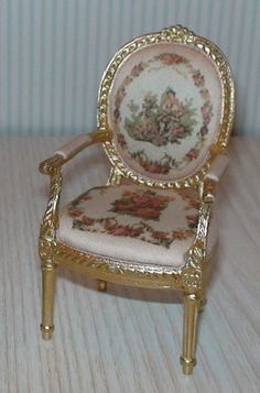 MINIATURE DOLLHOUSE 1:12 SCALE-BESPAQ PASCALE AUBUSSON ARM CHAIR-2301APP-G