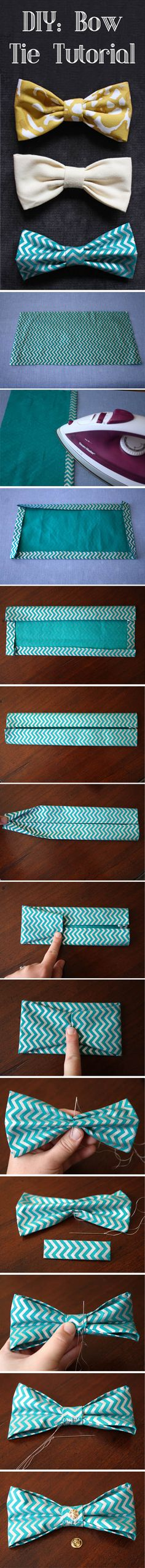 DIY bow tie tutorial. Great for dogs or husbands! ThisHouseIsOurHome.blogspot.com