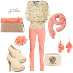 """""""cream and coral"""" by shauna-rogers on Polyvore"""