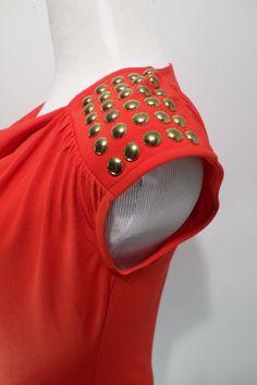 MICHAEL KORS Cherry Short Sleeve Glod Studs Blouse Size S #MichaelKors #Blouse