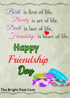 Birth is first of life,beauty is art of life,death is last of life,friendship is heart of life. Friendship Day Cards, Happy Friendship Day Quotes, Friendship Day Images, Friendship Status, Best Friendship, Intj, Mantra, Girl Quotes, Funny Quotes