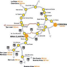 Mapa de Rutas de Acceso a Mina Clavero, Prov. Córdoba, Argentina