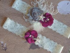 Eggplant and Grey Beach Wedding Garter, Starfish Bridal Garter with Ostrich Feathers, Plum Garter, Destination Wedding, Bridal Accessories by bridalambrosia on Etsy