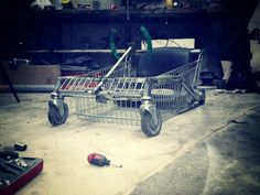 Shopping trolley into a go kart