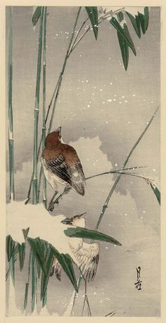 'Sparrows and Bamboo in Snow' (20th century). Woodblock print by Yoshimoto Gessô (1881–1936).