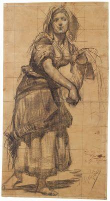 Alenquerensis: José Malhoa - (1855 - 1933) Line Drawing, Drawing Sketches, Pencil Drawings, Art Drawings, Sketching, Louis Aston Knight, Drawing Clothes, Woman Drawing, Gustav Klimt