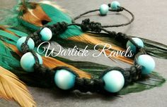 Blue Beaded Shamballa Black Hemp Bracelet  by WartickRavels