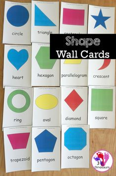 Free Shape Wall Cards - with fifteen 2D shape wall cards for kids to see the shape and shape name - 3Dinosaurs.com #wallcards #2dshapes #kindergarten #prek #firstgrade #freeprintable #3dinosaurs #shapeprintables Shapes For Kids, Free Shapes, Shapes Flashcards, Printable Shapes, Shape Names, Free Preschool, Shaped Cards, Small Cards, Activities For Kids