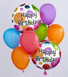 Happy Birthday Balloon Bunch  Price: 37.90    When you want your gift to make a big impression, give them this fun Balloon Bouquet! The bouquet arrives with 2 mylar balloons surrounded by 6 latex balloons and tied together with a ribbon. The birthday mylar balloon designs may vary according to availability.
