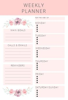Need to organize your life? This cute pink weekly planner is perfect for setting goals and creating to-do lists. Grab this printable planner and get to planning here! To Do Planner, Daily Planner Pages, School Planner, Weekly Planner Printable, Goals Planner, Planner Template, Monthly Planner, Life Planner, Week Planner