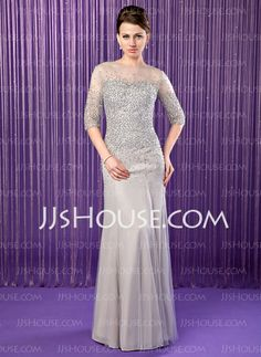 Vestidos para a mãe da noiva - Sereia Decote redondo Vestidos longo Tecido de seda Tule Vestidos para a mãe da noiva com Bordado Lantejoulas