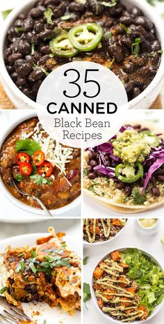 Here are 35 canned black bean recipes! Whether you've got a can of black beans you want to use up, or you made your own canned black beans from scratch, these recipes are easy and incredible! We've got everything from snacks, dinner, and even dessert! Veggie Recipes, Mexican Food Recipes, Diet Recipes, Cooking Recipes, Healthy Recipes, Recipies, Black Bean Salad Recipe, Vegan Black Bean Recipes, Can Of Black Beans Recipe