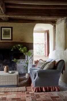 Kitchen Wallpaper Design, Scandinavian Wallpaper, Period Living, Terracotta Floor, Herringbone Fabric, London Design Festival, Brick Design, Cafe Chairs, Cottage Interiors