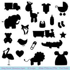 Baby Shower Silhouettes Clipart Clip Art - Commercial and Personal Use. $6.00, via Etsy.