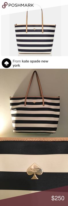 Kate Spade Cobblestone Park Harmony Baby Bag Navy blue and white striped diaper / nappy / baby bag. Smooth vinyl with smooth cowhide trim. 14-karat light gold plated hardware. Shoulder bag with open top. 3 slide pockets and interior zip pocket. Nylon wipeable changing pad. Stroller straps and dust bag included. Light gold kate spade new york spade stud. Style # pxru4694. Good condition. Smoke free home. Small rumple on top of strap (pictured). kate spade Bags Baby Bags