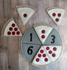 Please check processing times under shipping and policies. Most of my products are made to order. Teaching a child to count to 6 has never been more fun! Children match the number on the American-made acrylic felt pizza pan with the matching number of pepperonis on the pizza! The