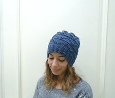 Hand knitted DENIM BLUE HAT women blue slouchy beanie on Etsy, $35.00