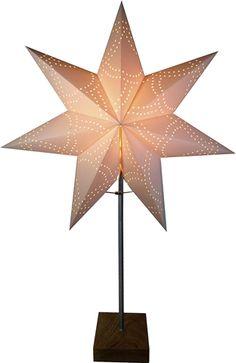 Bordsstjärna, Ståtlig adventsstjärna med ekfot, vit/ek, 3502345